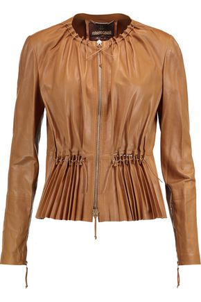 ROBERTO CAVALLI Pleated faux leather jacket