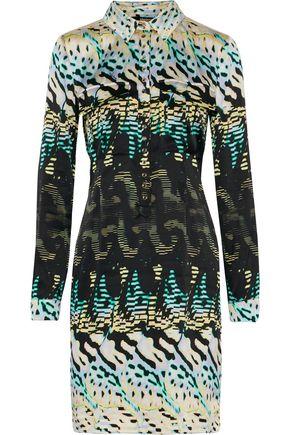 ROBERTO CAVALLI Pleated printed stretch-silk dress