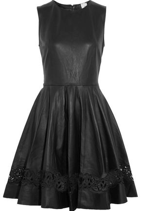 IRIS & INK Tina laser cut-paneled pleated leather dress