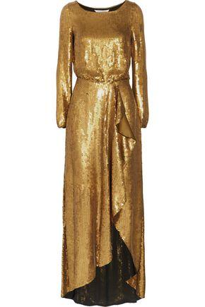 Diane Von Furstenberg Woman Delani Sequined Silk Maxi Dress Gold Size 14