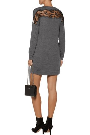 DIANE VON FURSTENBERG Hayli lace-paneled merino wool mini dress