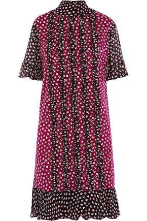 DIANE VON FURSTENBERG Ruffled wool-jersey and silk-chiffon mini dress