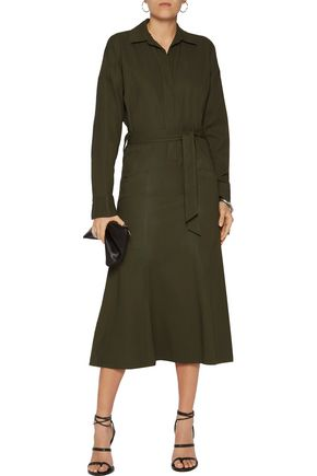 HELMUT LANG Belted cotton-twill midi dress