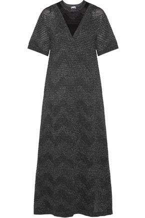 M MISSONI Mesh-paneled metallic crochet-knit maxi dress