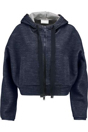 DKNY Cropped marled jersey hooded sweatshirt