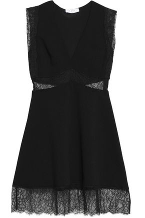 SANDRO Paris Lace-paneled textured-crepe mini dress