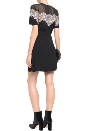 SANDRO Corded lace-paneled crepe mini dress