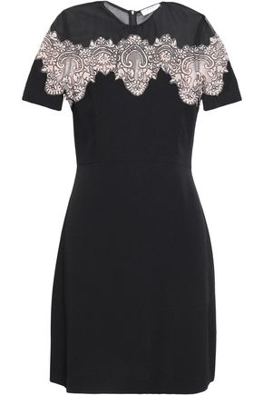 SANDRO Corded lace-paneled crepe mini dress