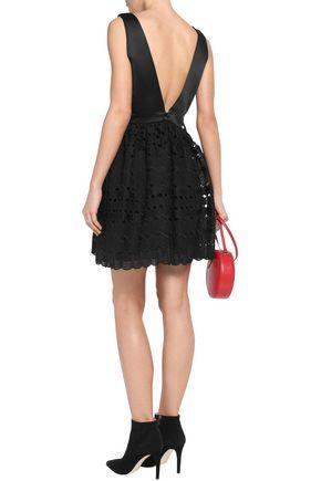 SANDRO Luminary satin and lace mini dress