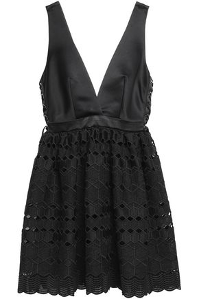 SANDRO Paris Luminary satin and lace mini dress