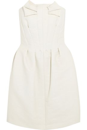 LANVIN Strapless bow-embellished coated-cotton dress