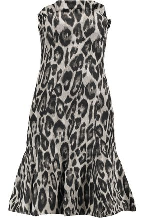 LANVIN Gathered printed crepe dress