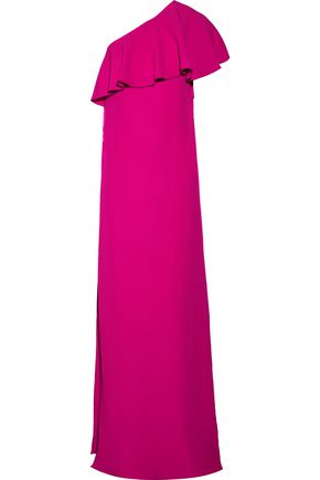 LANVIN One-shoulder tiered crepe gown