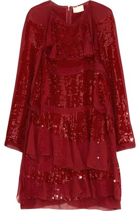 LANVIN Sequin-embellished paneled silk mini dress
