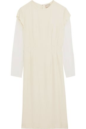 LANVIN Distressed textured-silk and organza dress