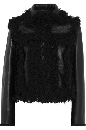 LANVIN Paneled faux shearling-trimmed leather jacket