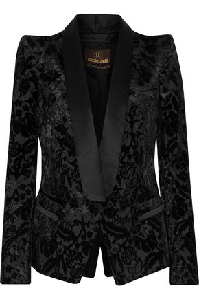 ROBERTO CAVALLI Silk satin-trimmed flocked crepe blazer