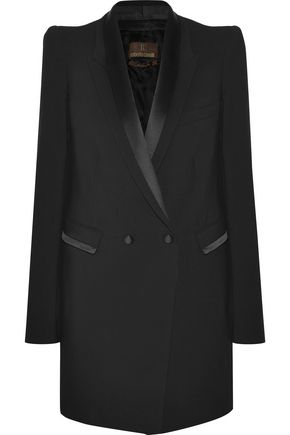 ROBERTO CAVALLI Silk satin-trimmed double-breasted wool-blend blazer