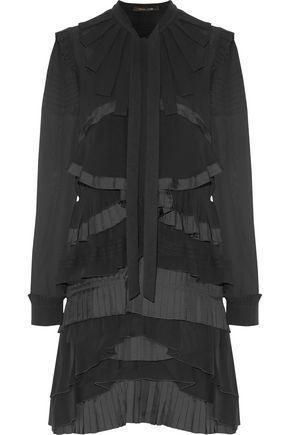 ROBERTO CAVALLI Tiered pleated silk-georgette, crepe and twill mini dress