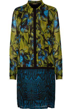ROBERTO CAVALLI Tie-front printed silk-chiffon dress