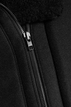 VINCE. Shearling-trimmed wool-blend jacket