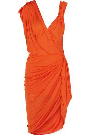 LANVIN Ruched asymmetric stretch-cady dress
