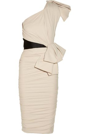 LANVIN One-shoulder washed stretch-cotton jersey dress