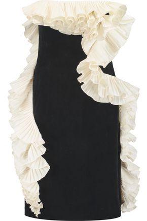 LANVIN Ruffled cotton-velvet  mini dress