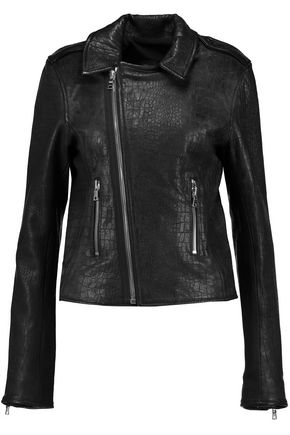 RTA Croc-effect leather biker jacket