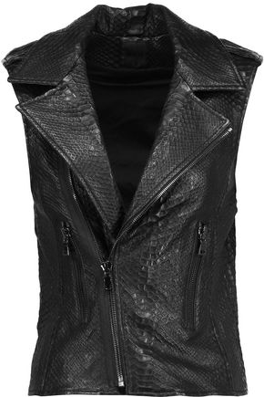 RTA Debosse snake-effect leather biker vest