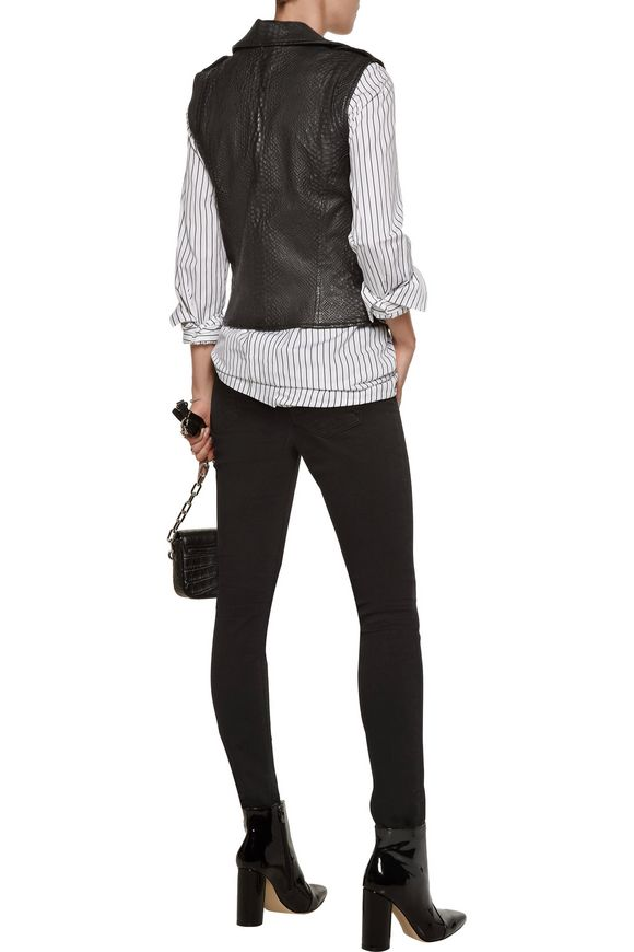 Debosse snake-effect leather biker vest | RTA | Sale up to 70% off | THE  OUTNET
