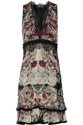 ROBERTO CAVALLI Lace-trimmed printed silk crepe de chine mini dress