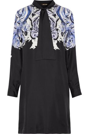 ROBERTO CAVALLI Tie-front printed silk-satin twill mini dress