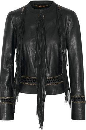 ROBERTO CAVALLI Fringed embellished leather jacket