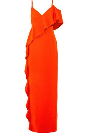 RACHEL ZOE Asymmetric cold-shoulder ruffled crepe maxi dress