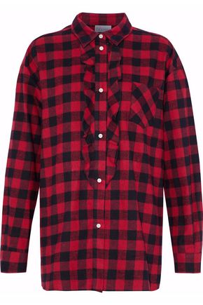REDValentino Ruffled checked flannel shirt