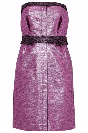 LANVIN Strapless metallic cotton-blend dress