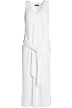 RAG & BONE Tie-front cotton-blend knitted midi dress
