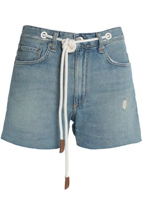 RAG & BONE/JEAN Belted distressed denim shorts