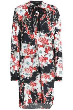 RAG & BONE Pussy-bow floral-print cotton mini dress