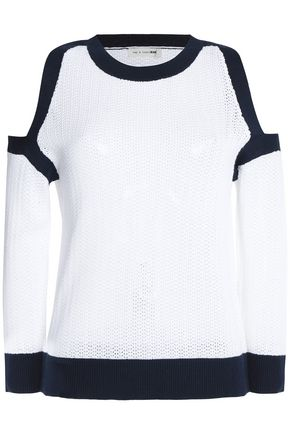RAG & BONE/JEAN Cold-shoulder striped cotton sweater