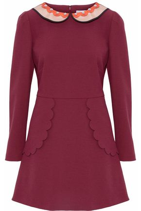 REDValentino Studded satin-trimmed crepe mini dress