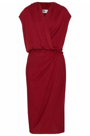 LANVIN Wrap-effect gathered stretch-jersey dress