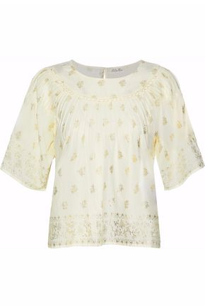 LOVESHACKFANCY Metallic printed pleated cotton-gauze top