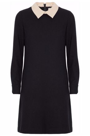 GOAT Two-tone wool-crepe mini dress