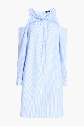 RAG & BONE Cold-shoulder striped cotton-poplin mini dress