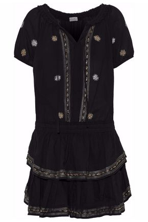 LOVESHACKFANCY Embroidered tiered voile mini dress
