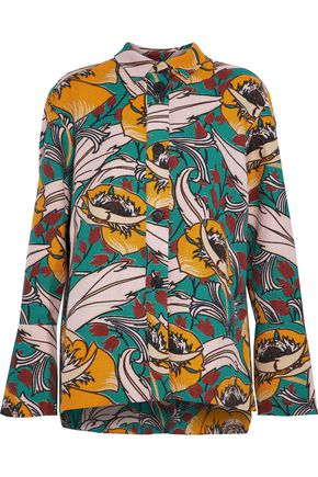 MARNI Printed cotton and linen-blend jacket
