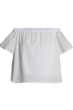 RAG & BONE Off-the-shoulder broderie anglaise cotton top