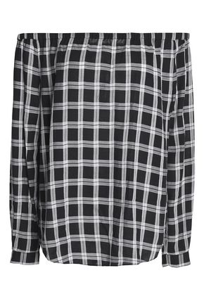 RAG & BONE Off-the-shoulder plaid cotton-twill top